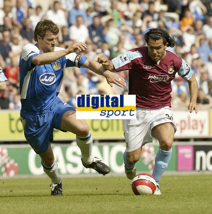 Photo: Aidan Ellis.<br /> Wigan Athletic v West Ham United. The Barclays Premiership. 28/04/2007.<br /> West Ham's Carlos Tevez goes past Wigan's Arjan De Zeeuw