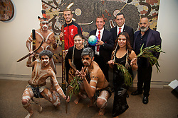 ADELAIDE, AUSTRALIA - Sunday, July 19, 2015: Liverpool's captain Jordan Henderson, manager Brendan Rodgers, State Treasurer for South Australia Tom Koutsantonis, artist Jacob Stengle and Managing Director Ian Ayre with Aboriginal dancers during a visit to the Art Gallery of South Australia ahead of a preseason friendly match against Adelaide United on day seven of the club's preseason tour. (Pic by David Rawcliffe/Propaganda)