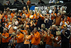 19 March 2010: Hope fans cheer on the Flying Dutch. The Flying Dutch of Hope College defeat the Yellowjackets of the University of Rochester in the semi-final round of the Division 3 Women's Basketball Championship by a score of 86-75 at the Shirk Center at Illinois Wesleyan in Bloomington Illinois.