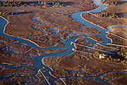 Aerial showing marsh front residences on Kiawah Island, South Carolina.