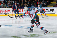 KELOWNA, CANADA - JANUARY 7: Devante Stephens #21 of the Kelowna Rockets takes a shot on net against the Kamloops Blazers on January 7, 2017 at Prospera Place in Kelowna, British Columbia, Canada.  (Photo by Marissa Baecker/Shoot the Breeze)  *** Local Caption ***