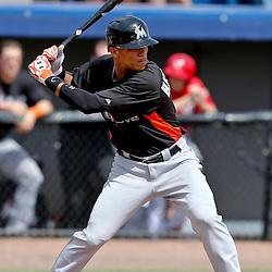 Mar 9, 2013; Melbourne, FL, USA; Miami Marlins center fielder Gorkys Hernandez (2) at bat against the Washington Nationals during the top of the third inning of a spring training game at Space Coast Stadium. Mandatory Credit: Derick E. Hingle-USA TODAY Sports