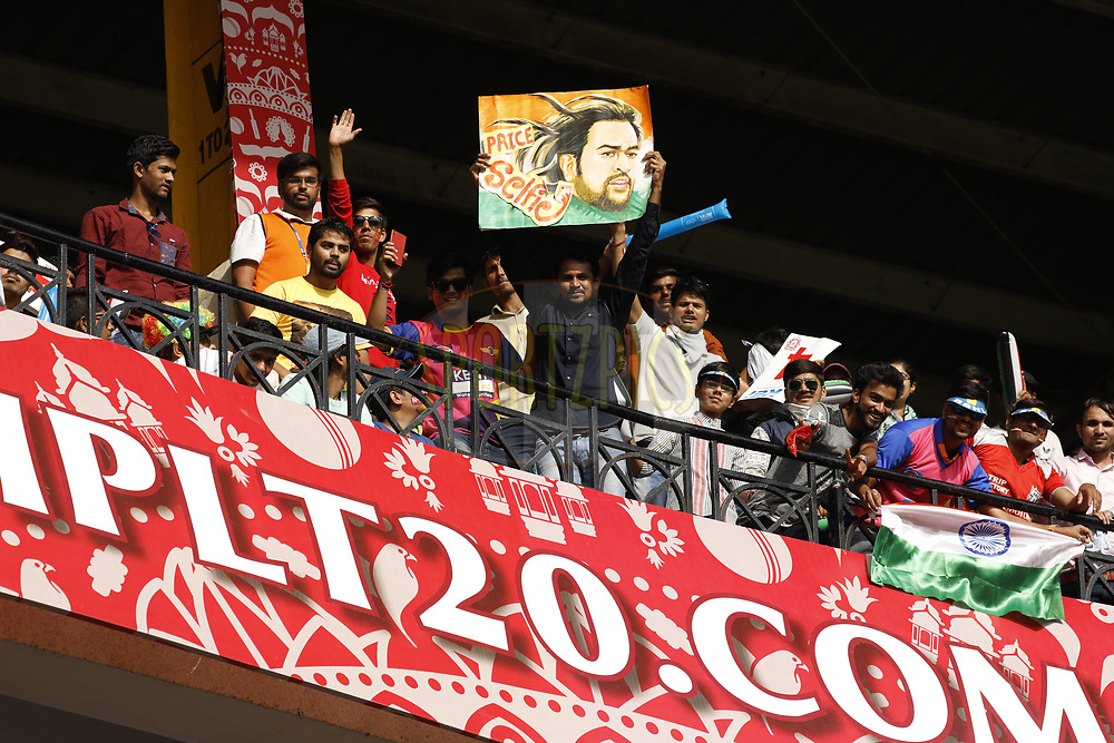 Rising Pune Supergiant  MS Dhoni  fans enjoying during match 4 of the Vivo 2017 Indian Premier League between the Kings X1 Punjab and the rising Pune Supergiant held at the Holkar Cricket Stadium in Indore, India on the 8th April 2017<br /> <br /> Photo by Arjun Singh - IPL - Sportzpics