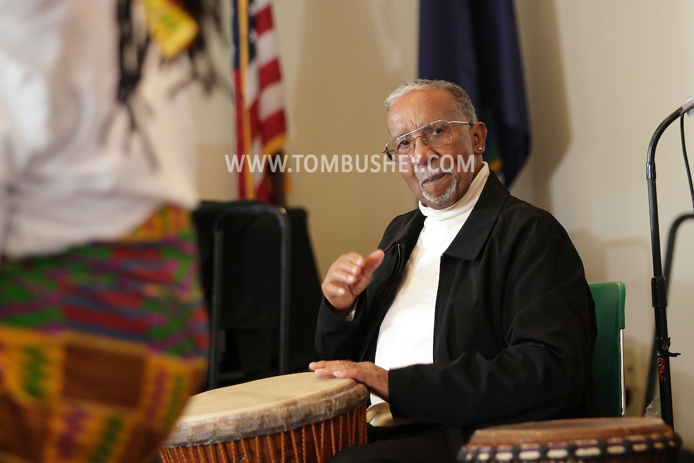 Middletown, New York - Maxwell Kofi Donkor and the Sankofa Drum and Dance Ensemble perform tradional African music at Thrall Library on Feb. 26, 2012.