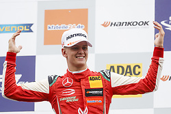 September 22, 2018 - Spielberg, Austria - MICK SCHUMACHER of Germany and Prema Theodore Racing is seen on the podium after winning the 2018 FIA Formula 3 European Championship race 1 at the Red Bull Ring in Spielberg, Austria. (Credit Image: © James Gasperotti/ZUMA Wire)
