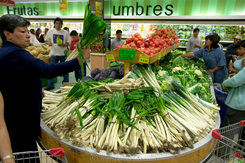 Although prices are higher, some who can afford them prefer to shop in the supermarkets because foreign brands, local produce and meat products can be found in one location, under one roof. Supermarkets are generally a new phenomenon in Ecuador as the large outdoor markets have long been a way of life for Ecuadorians. Though the outdoor markets still exist, supermarkets have begun to replace them in the bigger cities. Quito, Ecuador. (Supporting image from the project Hungry Planet: What the World Eats)