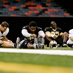 24 August 2009: New Orleans Saints safety Chip Vaughn (37) stretches during New Orleans Saints training camp practice at the Louisiana Superdome in New Orleans, Louisiana.