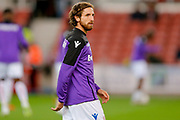 Stoke City midfielder Joe Allen (4) warming up  during the EFL Sky Bet Championship match between Stoke City and Swansea City at the Bet365 Stadium, Stoke-on-Trent, England on 18 September 2018.