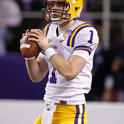 Jan 7, 2011; Arlington, TX, USA; LSU Tigers quarterback Barrett Bailey (1) during warm ups prior to kickoff of the 2011 Cotton Bowl against the Texas A&M Aggies at Cowboys Stadium. LSU defeated Texas A&M 41-24.  Mandatory Credit: Derick E. Hingle