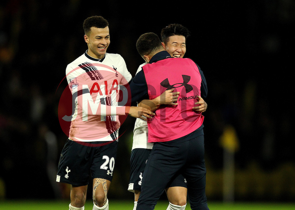 Heung-Min Son of Tottenham Hotspur celebrates with Dele Alli and Kyle Walker at full time - Mandatory byline: Robbie Stephenson/JMP - 07966 386802 - 28/12/2015 - FOOTBALL - Vicarage Road - Watford, England - Watford v Tottenham Hotspur - Barclays Premier League