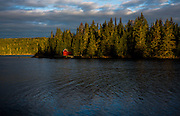 The red mail drop building on Tobin Harbor at Isle Royale National Park.