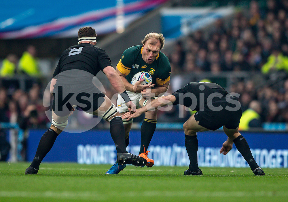 Schalk Burger of South Africa during the Rugby World Cup Semi Final match between South Africa and New Zealand played at Twickenham Stadium, London on the 24th of October 2015. Photo by Liam McAvoy