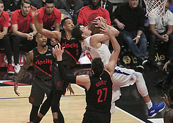 December 17, 2018 - Los Angeles, California, United States of America - Danilo Gallinari #8 of the Los Angeles Clippers is blocked as he goes for a layup during their NBA game with the Portland Trailblazers on Monday December 17, 2018 at the Staples Center in Los Angeles, California. Clippers lose to Trailblazers, 127-131. JAVIER ROJAS/PI (Credit Image: © Prensa Internacional via ZUMA Wire)