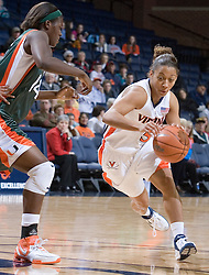 Virginia Cavaliers Guard Sharne? Zoll (5) dribbles into the lane against Miami.  The University of Virginia Cavaliers defeated the Miami Hurricanes Women's Basketball Team 73-60 at the John Paul Jones Arena in Charlottesville, VA on February 4, 2007.