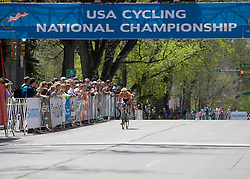 Ben King (Virginia Polytechnic University) makes a bold move with 3 laps to go.  The 2008 USA Cycling Collegiate National Championships Road Race men's division 2 event was held near Fort Collins, CO on May 9, 2008.