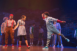 "© Licensed to London News Pictures. 04/08/2014. London, England. With Arizona Snow as Dorothy and Jaih Betote Dipito Akwa as Scarecrow. Kate Prince and hip-hop dance company ZooNation return to Queen Elizabeth Hall/Southbank Centre for a second year with their show ""Groove on Down the Road"" which is based on ""The Wizard of Oz"". This show is performed entirely by ZooNation's Youth Company with dancers ranging from ages 10-19, as a way of inspiring a new generation of performers. Performances at Southbank Centre's Queen Elizabeth Hall run from 5 to 26 August 2014 and are part of Southbank Centre's ""Festival of Love"". Photo credit: Bettina Strenske/LNP"