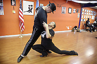 (CH) FL-el-argentinean-tango-CHa --Oscar Caballero, The Tango Times Dance Company's dance company director, and Roxana Garber are dancing during the practice of The Argentine Folk and Tango Show, at their studio in North Miami Beach on June 30, 2012. Saff photo/Cristobal Herrera Sun-Sentinel