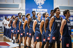 Players of France listening to the national anthem during basketball match between National teams of Slovenia and France in the Group Phase C of FIBA U18 European Championship 2019, on July 27, 2019 in Nea Ionia Hall, Volos, Greece. Photo by Vid Ponikvar / Sportida