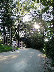 Bike-pedestrian path on the University of Wisconsin-Madison campus.
