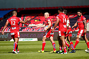 Salford Red Devils scrum half Michael Dobson (7) celebrates a try to bring the score back to 16-36 during the Super League match between Salford Red Devils and Leeds Rhinos at the AJ Bell Stadium, Eccles, United Kingdom on 9 July 2017. Photo by Simon Davies.