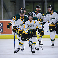 5th year forward Cody Fowlie (27) of the Regina Cougars in action during the Men's Hockey Home Game on October 28 at Co-operators arena. Credit: Arthur Ward/Arthur Images