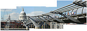 A multi-image composite of London's Millenium Bridge. Built as part of the year 2000 celebrations, the bridge connects St. Pauls Cathedral on the North Bank of the Thames, with the Tate Modern Gallery on the South.