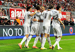 29.04.2014, Allianz Arena, Muenchen, GER, UEFA CL, FC Bayern Muenchen vs Real Madrid, Halbfinale, Ruckspiel, im Bild Jubel bei Real Madrid nach dem 0:1 durch Sergios Ramos (Real Madrid), 2.vl. // during the UEFA Champions League Round of 4, 2nd Leg Match between FC Bayern Munich vs Real Madrid at the Allianz Arena in Muenchen, Germany on 2014/04/29. EXPA Pictures © 2014, PhotoCredit: EXPA/ Eibner-Pressefoto/ Stuetzle<br /> <br /> *****ATTENTION - OUT of GER*****