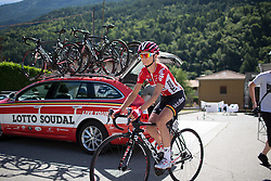 Claudia Lichtenberg (GER) of Lotto Soudal Cycling Team rides to the start before the Giro Rosa 2016 - Stage 5. A 77.5 km road race from Grosio to Tirano, Italy on July 6th 2016.