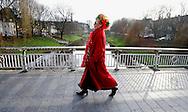HOLLAND - 's-HERTOGENBOSCH. A lady on her way to carnival. PHOTO: GERRIT DE HEUS