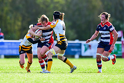 Caryl Thomas of Bristol Ladies is tackled by Tina Veale and Alice Sheffield of Wasps Ladies - Mandatory by-line: Craig Thomas/JMP - 28/10/2017 - RUGBY - Cleve RFC - Bristol, England - Bristol Ladies v Wasps Ladies - Tyrrells Premier 15s