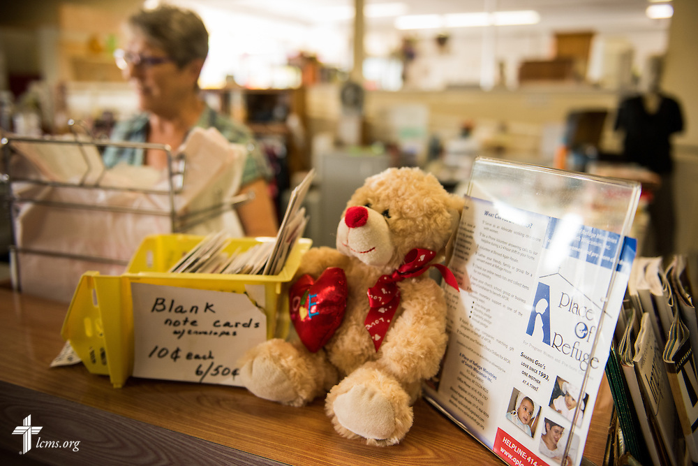 Manager Betty Strelow works the counter at Blessed Again Resale on Wednesday, Sept. 2, 2015, in Milwaukee, Wis. The resale shop benefits A Place of Refuge maternity home. LCMS Communications/Erik M. Lunsford