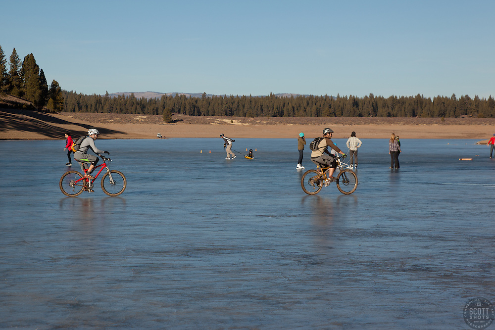 """Ice skaters and bikers on Prosser Reservoir 2"" - These ice skater and mountain bikers were photographed on a frozen Prosser Reservoir, Truckee."