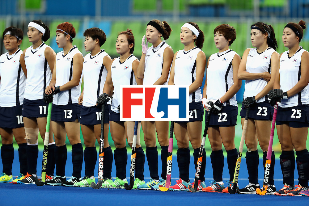 RIO DE JANEIRO, BRAZIL - AUGUST 08:  Team Korea during introductions prior to a game against Netherlands during a Women's Pool A match on Day 3 of the Rio 2016 Olympic Games at the Olympic Hockey Centre on August 8, 2016 in Rio de Janeiro, Brazil.  (Photo by Sean M. Haffey/Getty Images)