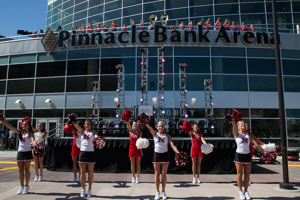 August 29, 2013: Nebraska cheer team and Nebraska Express band at the ribbon cutting at the Pinnacle Bank Arena in Lincoln, Nebraska.