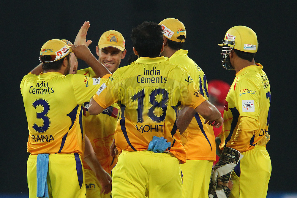 Brendon McCULLUM of the Chennai Superkings celebrates the wicket of George BAILEY (Captain) of the Kings XI Punjab  during the second semi final match of the Oppo Champions League Twenty20 between the Kings XI Punjab and the Chennai Superkings held at the Rajiv Gandhi Cricket Stadium, Hyderabad, India on the 2nd October 2014<br /> <br /> Photo by:  Ron Gaunt / Sportzpics/ CLT20<br /> <br /> <br /> Image use is subject to the terms and conditions as laid out by the BCCI/ CLT20.  The terms and conditions can be downloaded here:<br /> <br /> http://sportzpics.photoshelter.com/gallery/CLT20-Image-Terms-and-Conditions-2014/G0000IfNJn535VPU/C0000QhhKadWcjYs