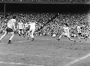 Dublin runs to kick the ball during the the Kerry v Dublin All Ireland Senior Gaelic Football Final in Croke Park on the 24th of September 1978. Kerry 5-11 Dublin 0-9.