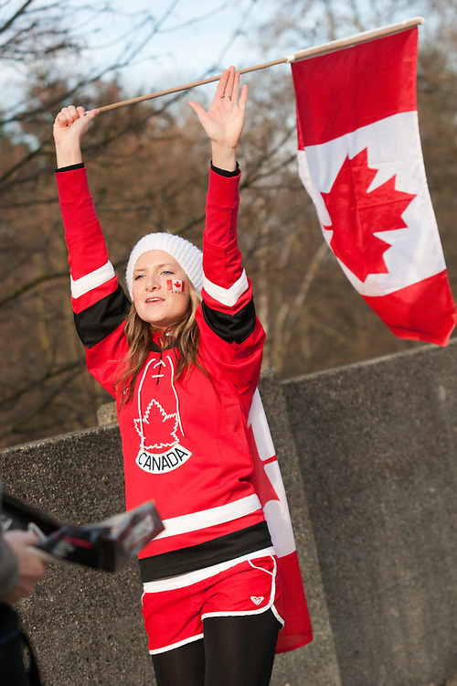 Tens of thousands of people in Vancouver took to the streets on Sunday 28th February 2010 to celebrate Canada's 3-2 overtime win over the United States for the gold medal in men's Olympic hockey...Traffic came to a halt in and around the downtown of the host city for the Winter Games following the dramatic finish to the match, which featured Sidney Crosby scoring to secure the victory on the final day of Olympic competition.