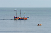 Pirate boat flying the Jolly Roger as it gives pleasure trips round the South Bay at Scarborough ..., Travel, lifestyle