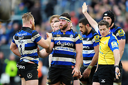 Nathan Catt of Bath Rugby celebrates a penalty with tea-mates - Mandatory byline: Patrick Khachfe/JMP - 07966 386802 - 04/03/2017 - RUGBY UNION - The Recreation Ground - Bath, England - Bath Rugby v Wasps - Aviva Premiership.