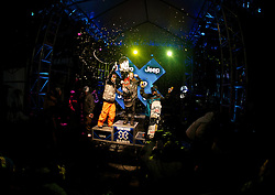 (l to r) Scotty Lago, Shaun White and Louie Vito on the podium following the men's Snowboard SuperPipe finals at Winter X Games 15 at Buttermilk Mountain in Aspen, CO. Joshua Duplechian/ESPN Action Sports