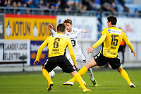Fotball , Tippeligaen , Eliteserien<br /> 05.04.17 , 20170405<br /> Sandefjord - Rosenborg<br /> Vegar Eggen Hedenstad - RBK<br /> Pau Vicente Morer , Enric Valles Prat - Sandefjord <br /> Foto: Sjur Stølen / Digitalsport