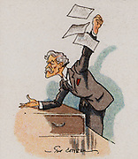 (James) Ramsay Macdonald (1866-1937), born at Lossiemouth, Moray, Scotland. British Labour (socialist) politician and the first Labour Prime Minister (1922-1924 and 1929).  Macdonald at the dispatch box addressing the House of Commons. From a series of cards on 'Notable MPs' (London, 1929).