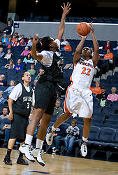Virginia Cavaliers G Monica Wright (22) shoots a jump shot.  The Virginia Cavaliers women's basketball team faced Team Concept in an exhibition basketball game at the John Paul Jones Arena in Charlottesville, VA on November 5, 2007.