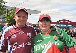 Loyalties divided......Galway supporter Patrick Kearns from Peterwell, Galway with his wife Katherine McGinty from Dooniver before the Connacht Championship semi-final match at Pearse stadium, Galway.<br /> Pic Conor McKeown