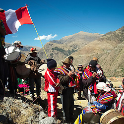 A band of musicians play during the celebrations of Yawar Fiesta (Feast of Blood) in the Andean town of Coyllurqui, in Apurimac, Peru. This Peruvian tradition, that takes place annually in July during the Independence day celebrations, consists of capturing a condor and parading around town throughout the week. The highlight of the tradition is bullfighting with the condor strapped on top of the bull. For locals, the bull represents the Spanish and the condor the native population. The condor is freed in a ceremony called Cacharpari.