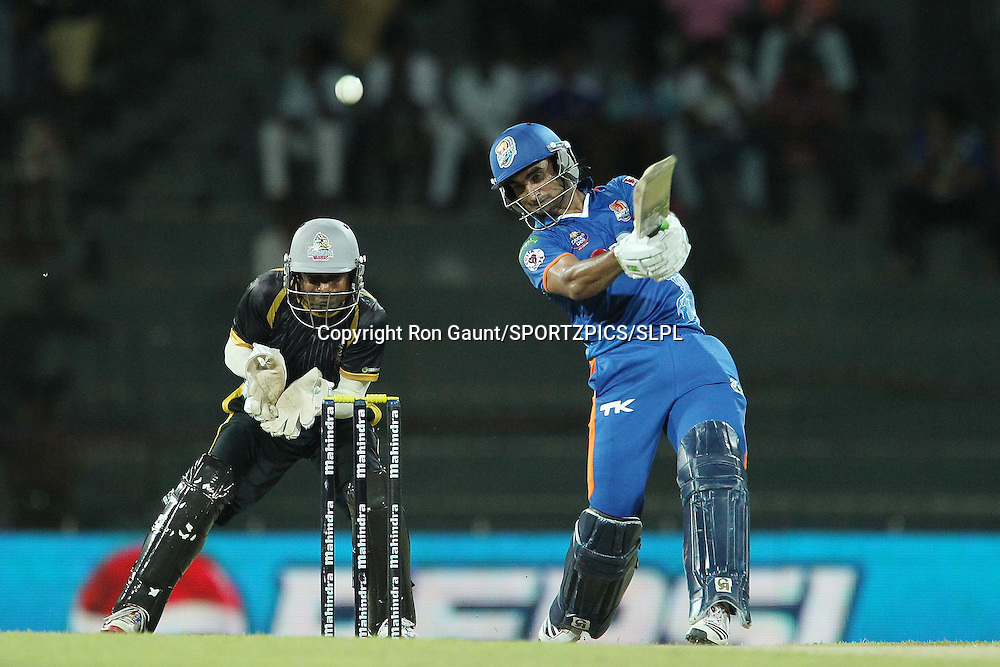 Imran Nazir knocks Kosala Kulasekera for six during match 5 of the Sri Lankan Premier League between Kandurata Warriors and Nagenahira Nagas held at the Premadasa Stadium in Colombo, Sri Lanka on the 13th August 2012<br />  <br /> Photo by Ron Gaunt/SPORTZPICS/SLPL