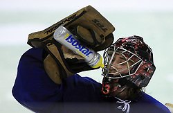 Goalkeeper Robert Kristan of Slovenia at ice-hockey match Slovenia vs Latvia at Preliminary Round (group B) of IIHF WC 2008 in Halifax, on May 06, 2008 in Metro Center, Halifax, Nova Scotia, Canada. Latvia won 3:0. (Photo by Vid Ponikvar / Sportal Images)Slovenia played in old replika jerseys from the year 1966, when Yugoslavia hosted the World Championship in Ljubljana.