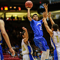 031415  Adron Gardner/Independent<br /> <br /> Laguna Acoma Hawk Kameron Joe (23) shoots above the  Mesilla Valley Christian SonBlazers during a 3A New Mexico state basketball tournament final at The Pit in Albuquerque Saturday.