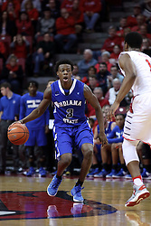 20 January 2017:  Trey Knight III  during an NCAA Missouri Valley Conference mens basketball game Where the Purple Aces of Evansville lost to the Illinois State Redbirds 75-73 in Redbird Arena, Normal IL