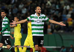 February 14, 2019 - Na - Lisbon, 02/14/2019 - Sporting Clube de Portugal received the Villarreal Club de Fútbol tonight at the Estádio de Alvalade in the first leg of the 16-game Europa League 2018/2019. Bas Dost  (Credit Image: © Atlantico Press via ZUMA Wire)
